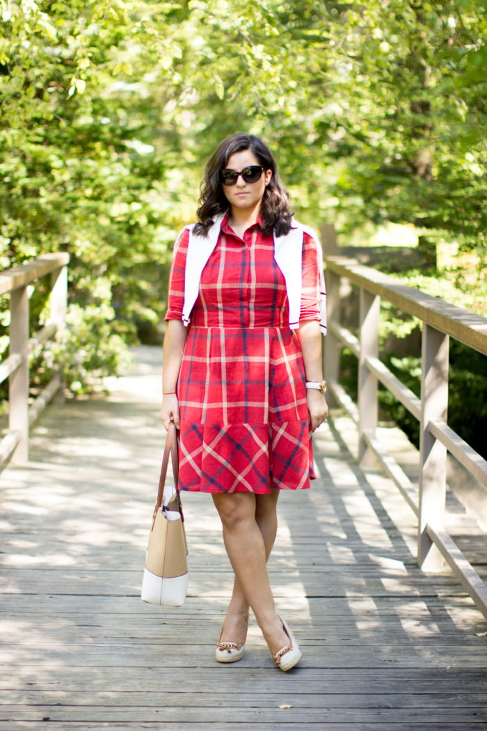 plaid dress for fall, eshakti dress, custom made dress, red plaid dress, preppy dress, casual fall dress, canvas wedges