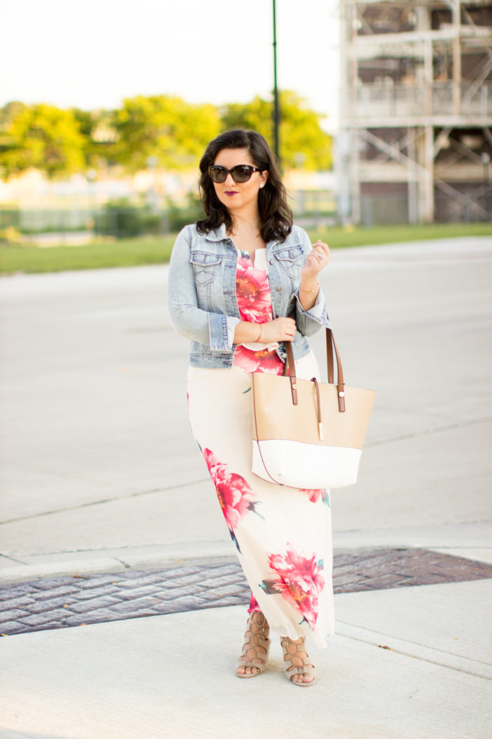 transitioning into fall with floral maxi dress, denim jacket, calvin klein tote, nordstrom dress, Fall fashion, late summer Fashion, pink floral maxi dress