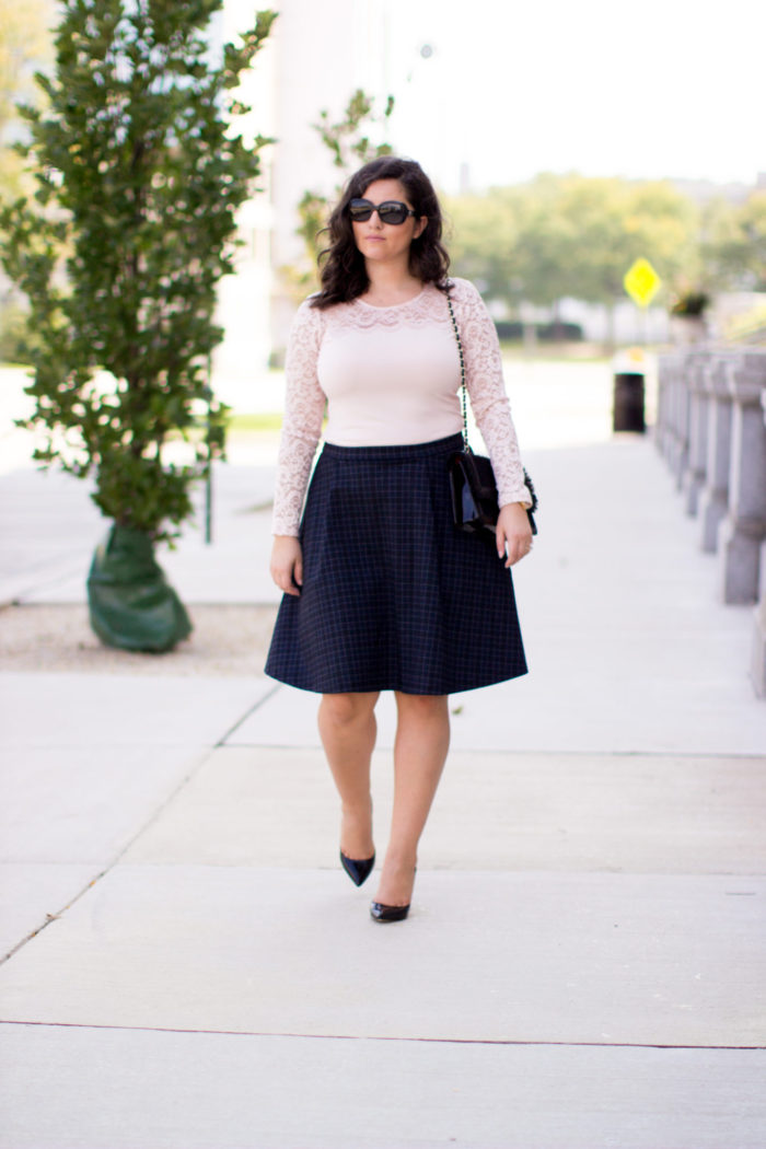 work appropriate outfit, blush lace top, long sleeve lace top, A-line skirt, navy blue skirt, black steve madden pumps,