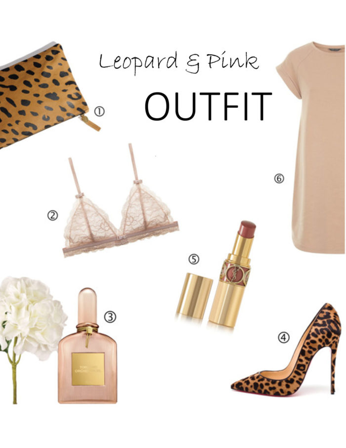 leopard and pink outfit, pink dress, leopard heels. leopard clutch, ysl lipstick, tom ford perfume, lace bra