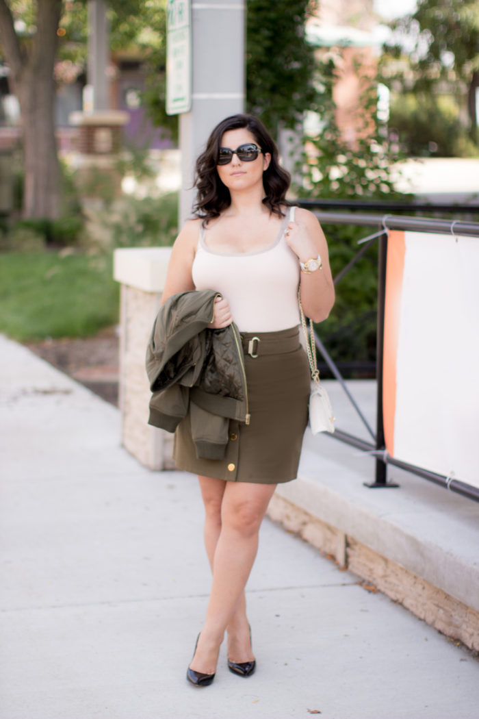 mini skirt for fall, military green skirt, michael kors mini skirt, green bomber jacket, outfit for going out, party outfit, cocktail outfit,