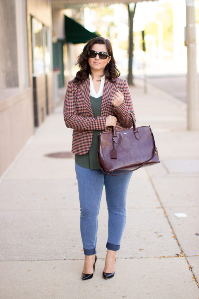 no nonsense jeggings, work appropriate outfit, jeggings for work, how to wear leggings to work, plaid blazer, preppy outfit, classy outfit