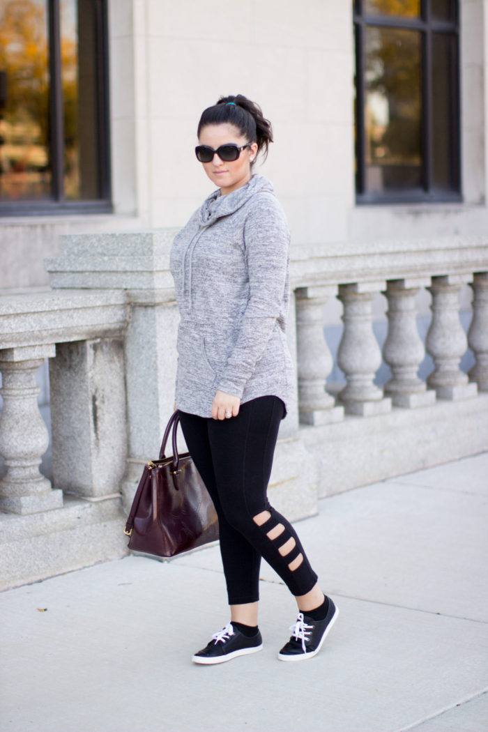 perfect athleisure outfit, athletic casual outfit, leisure outfit, casual womens look, leggings, sneakers, hoodie sweater,