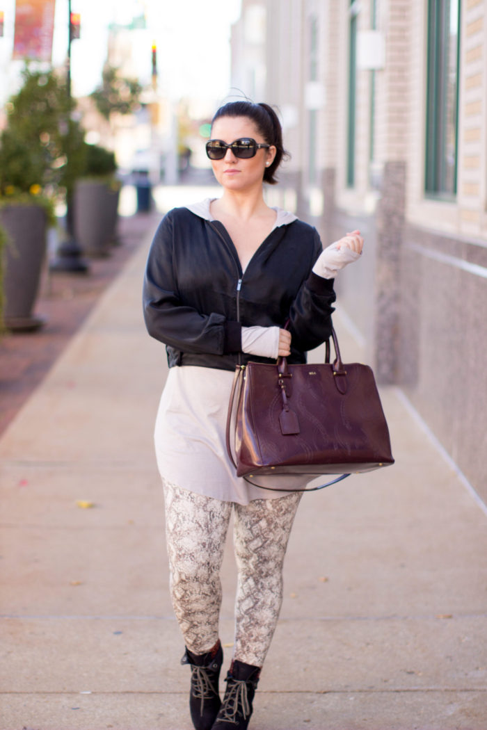 athleisure outfit, best athleisure leggings, animal print leggings,yummy tummy, bomber jacket,