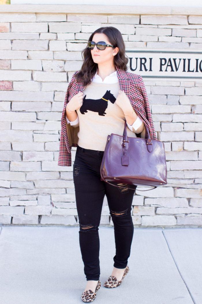 cat event, cat shoes, soho house chicago, preppy outfit idea, plaid blazer, leopard shoes, leopard loafer, black jeans, ralph lauren satchel