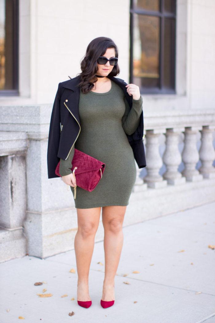 green and red combination, green winter dress, red calvin klein heels, red suede handbag, calvin klain moto jacket,