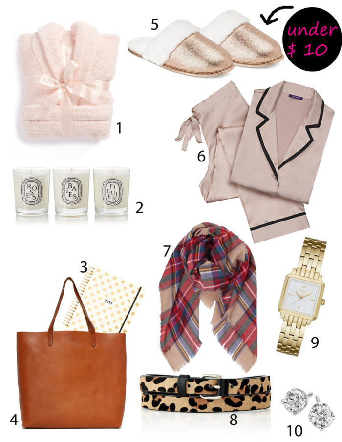 holiday gift guide, slippers under $10, candles, planner, watch, silk pj, leopard belt