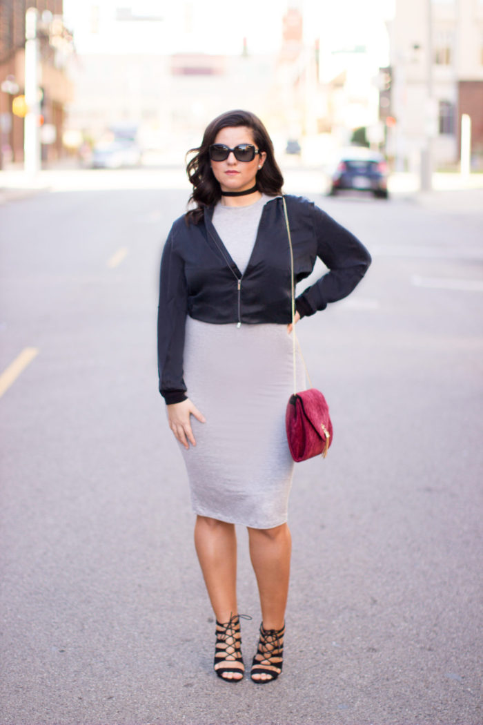 jacket, black bomber jacket, bodycon dress, cake lace up heels, red velvet crossbody handbag