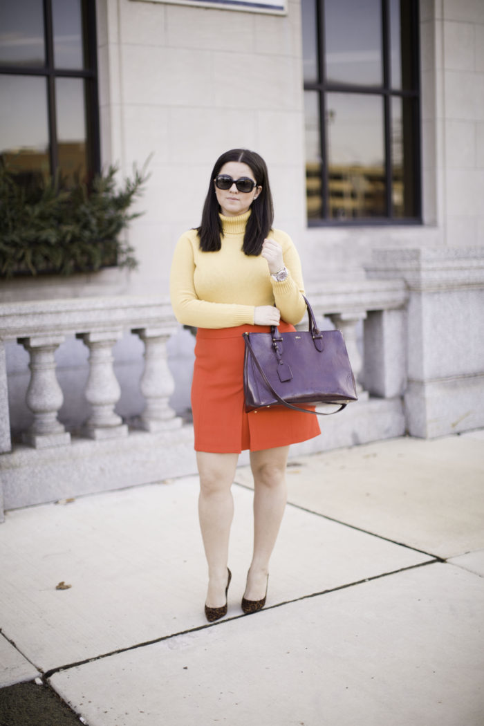 how to wear colors in winter, loft skirt, red mini skirt, mustard turtle neck sweater, leopard heels, winter outfit ideas. work appropriate outfit