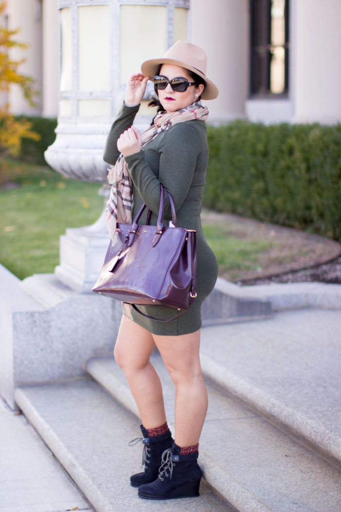 cat booties, green dress, black ankle booties, ralph lauren satchel, beige hat, fall outfit idea, outfit of today
