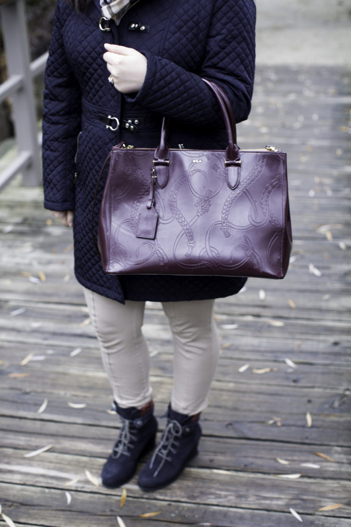 quilted winter coat, causal winter outfit idea, leggings and boots, CAT wedge boots,