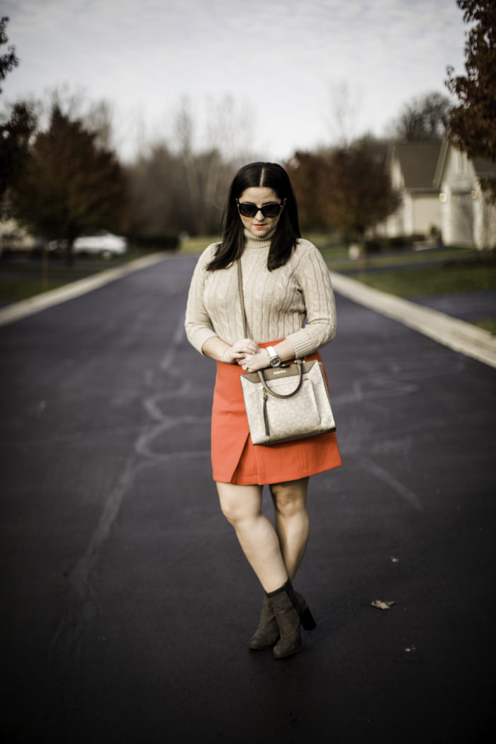 mini skirt, cable knit turtle neck sweater, ankle booties, calvin klein crossbody