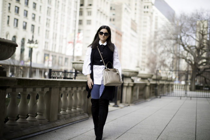 bell sleeve top, over the knee boots, black vest, jeggings, calvin klein handbag