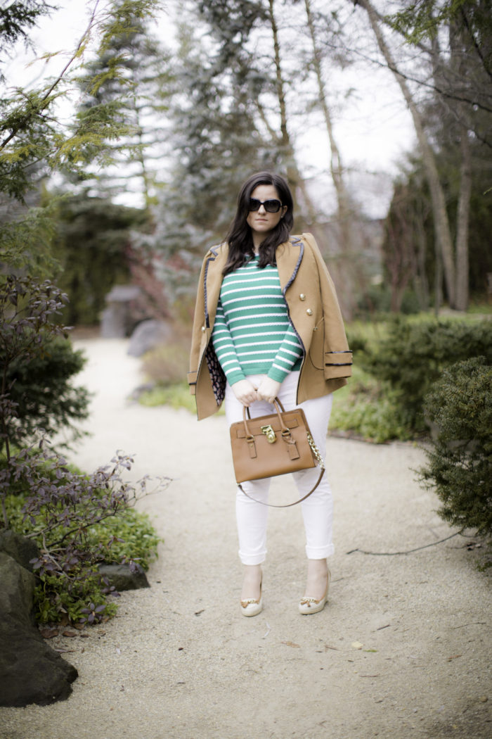 sweater, how to style a green striped sweater, jcpenny fashion, liz claiborne sweater