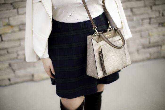 plaid mini skirt, overt the knee boots, mini plaid skirt, white blazer, winter outfit idea