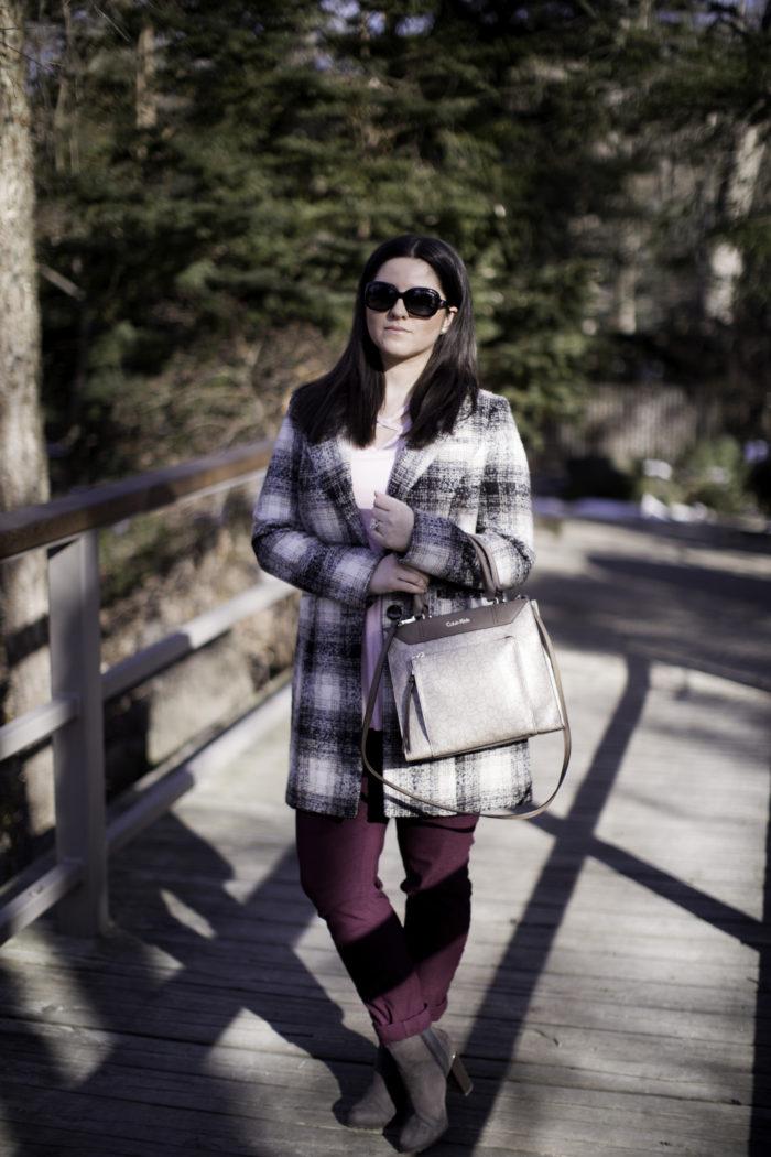 plaid winter coat, steve madden winter coat, winter outfit idea, burgundy jeans, light pink top