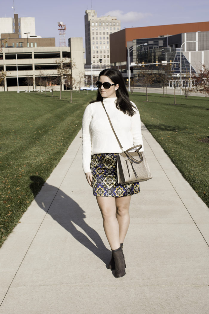 printed mini skirt, loft skirt, loft turtleneck, winter white turtleneck sweater, juicy couture ankle booties