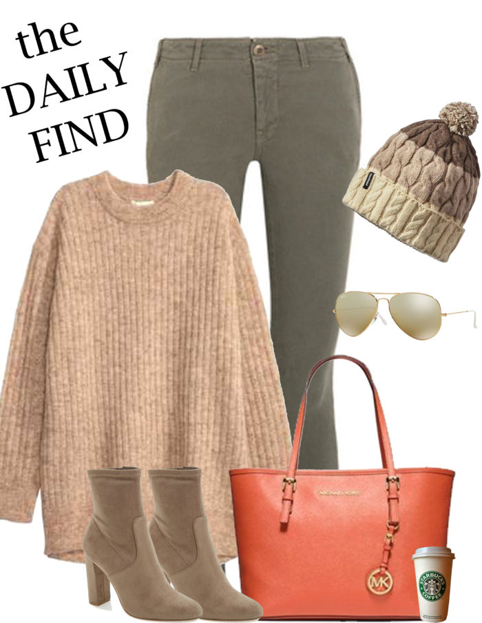the daily find, casual outfit inspiration, ankle boots, h&m sweater, michael kors orange tote