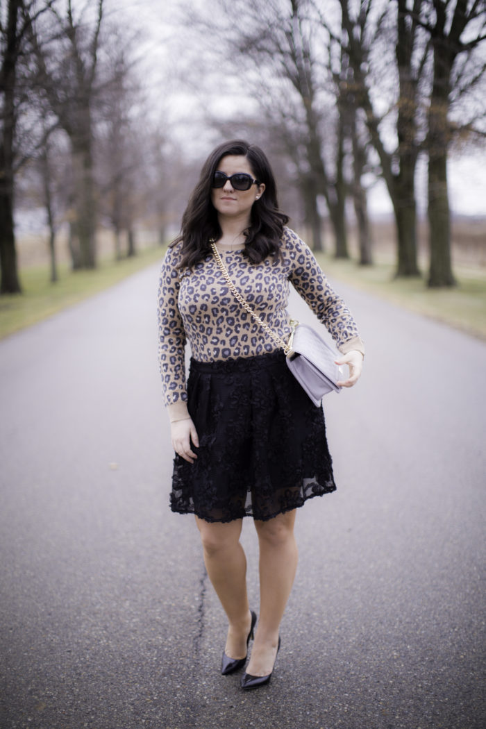 valentines day inspired outfit, animal print top, jcpenny fashion,