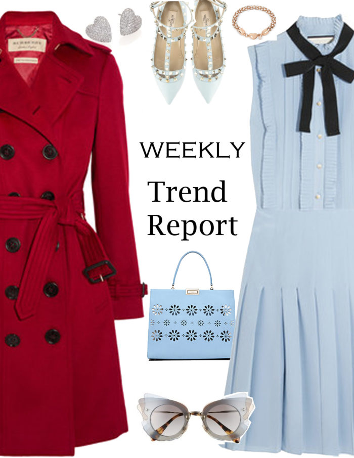 weekly trend report, red trench coat, pleated pastel blue dress, cat eye sunglasses, heart stud earrings