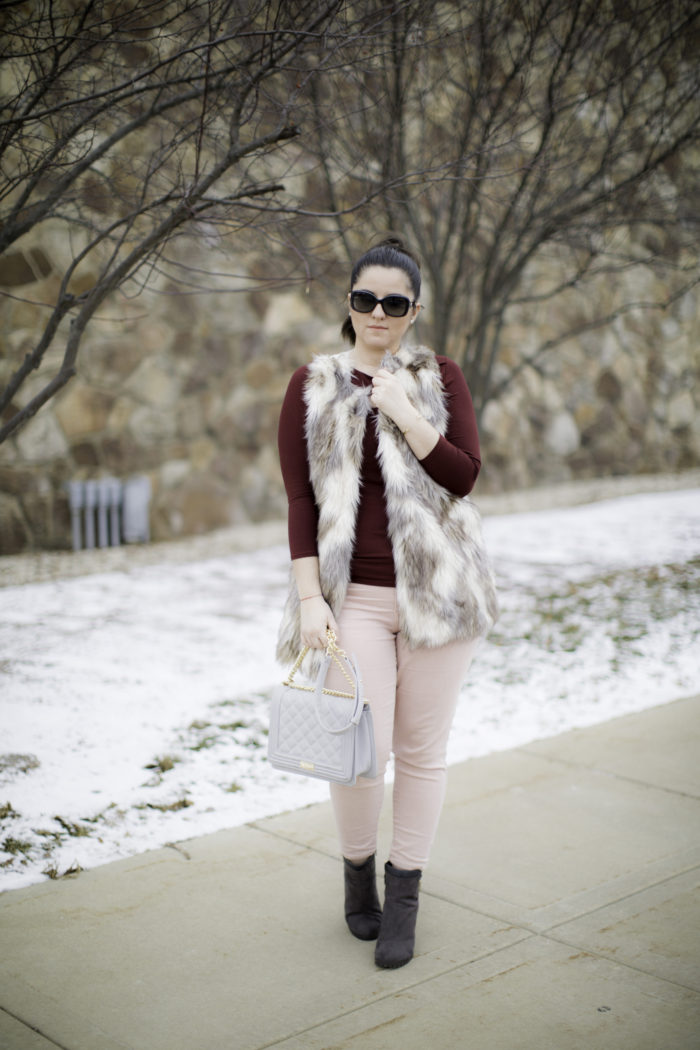 casual valentine's day outfit idea, winter casual look, light pink pants, pink and red combination