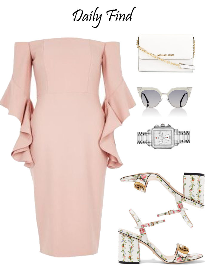 daily find, ruffle sleeve dress, light pink dress, floral printed sandals, cat eye sunglasses, michael kors crossbody