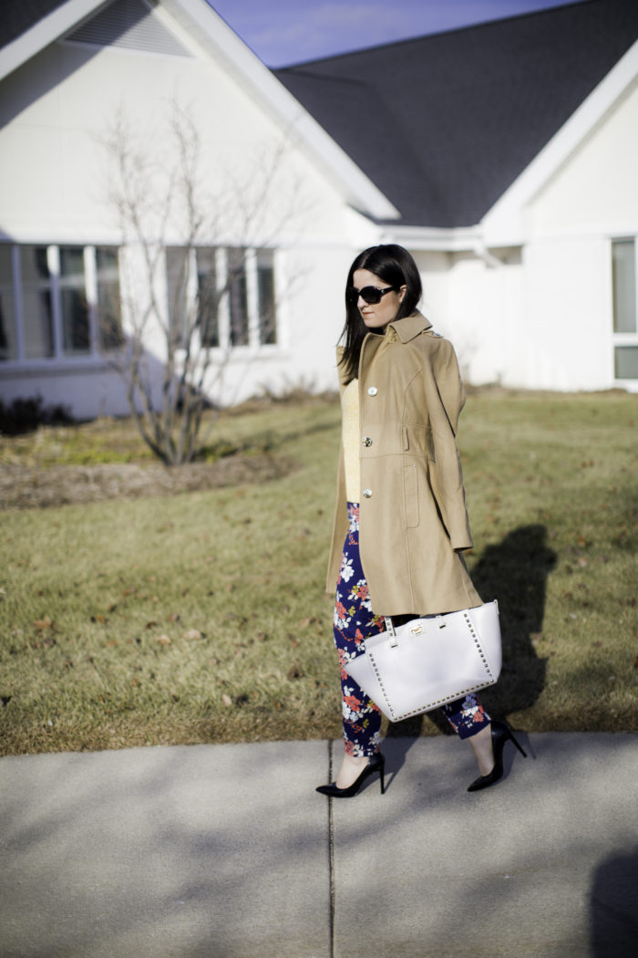 floral pants, blue floral pants, how to style floral printed pants, yellow sweater, Kenneth cole pea coat