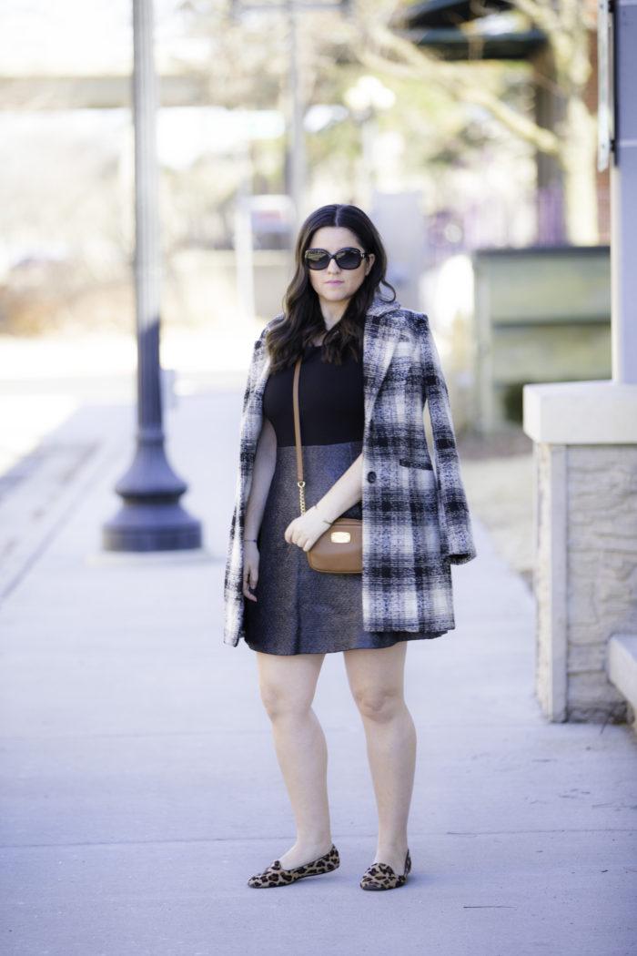 steve madden coat, spring outfit idea, leopard loafer, michael kors crossbody