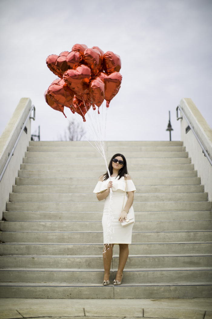 valentine's day, valentine's day dress, heart baloons