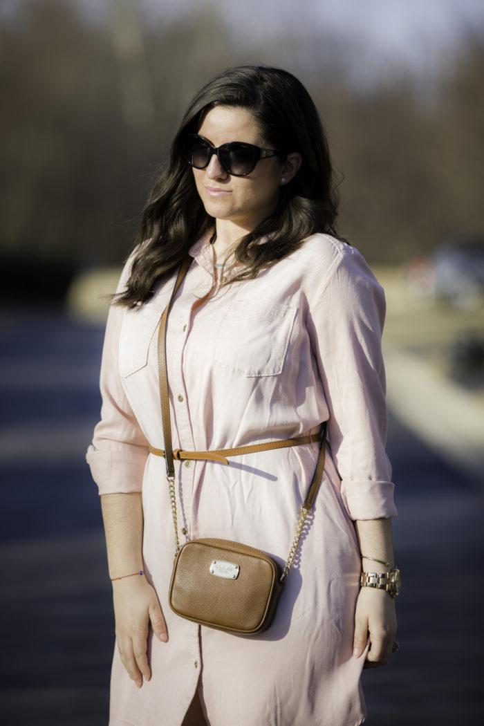 blush shirt dress, target spring dresses, pink shirt dress, michael kors crossbody handbag