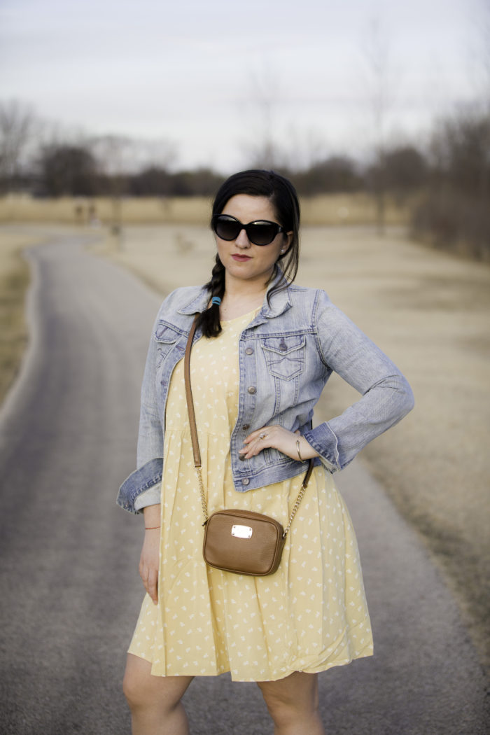 spring dress for sunday afternoon, casual sunday dress, casual weekend outfit, denim jacket, yellow floral dress from Target