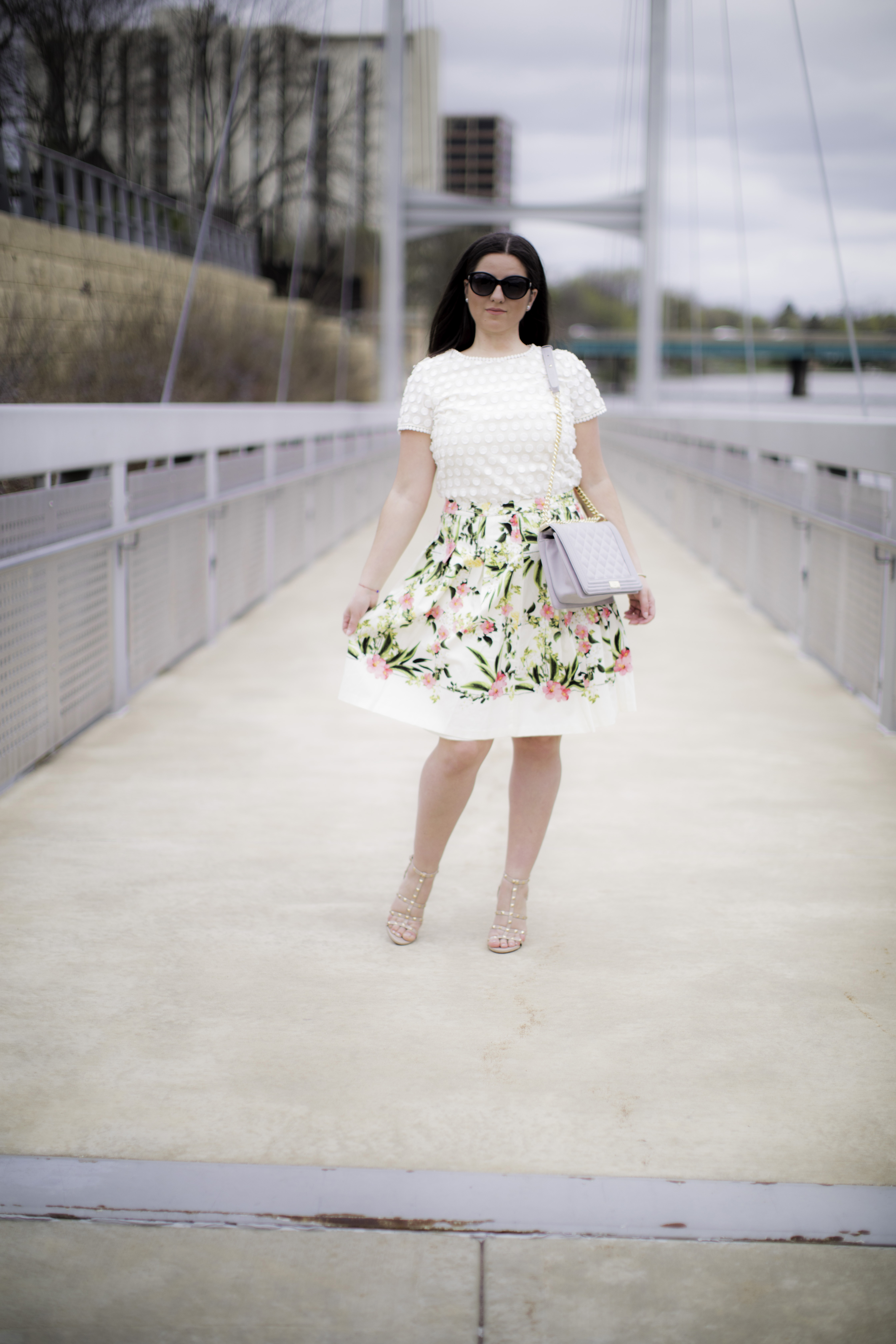 talbots fashion, floral skirt fit and flare, crochet short sleeve top, chicago fashion blogger, baily lamb