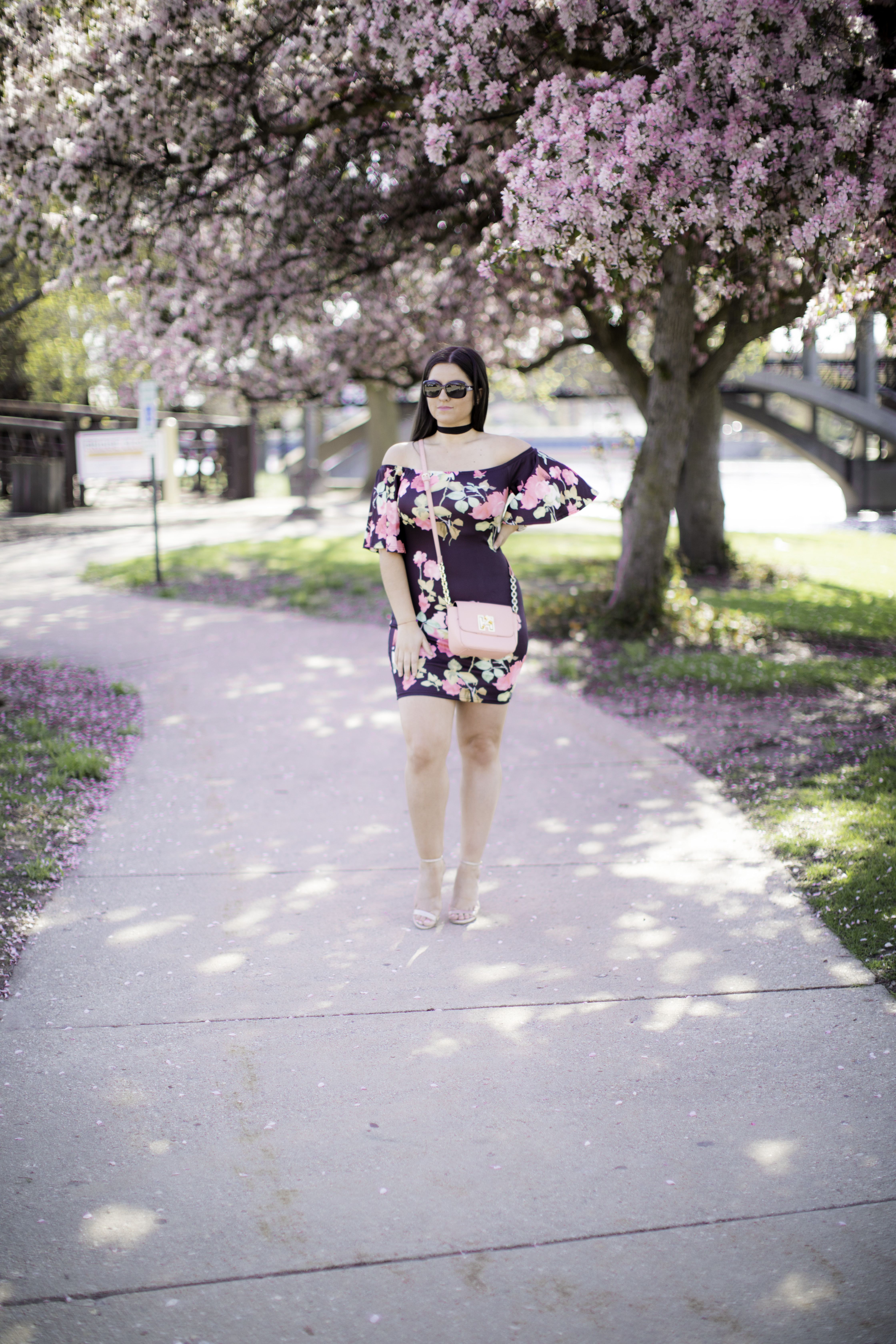 off the shoulder floral print dress, amazon fashion, chicago blogger, baily lamb