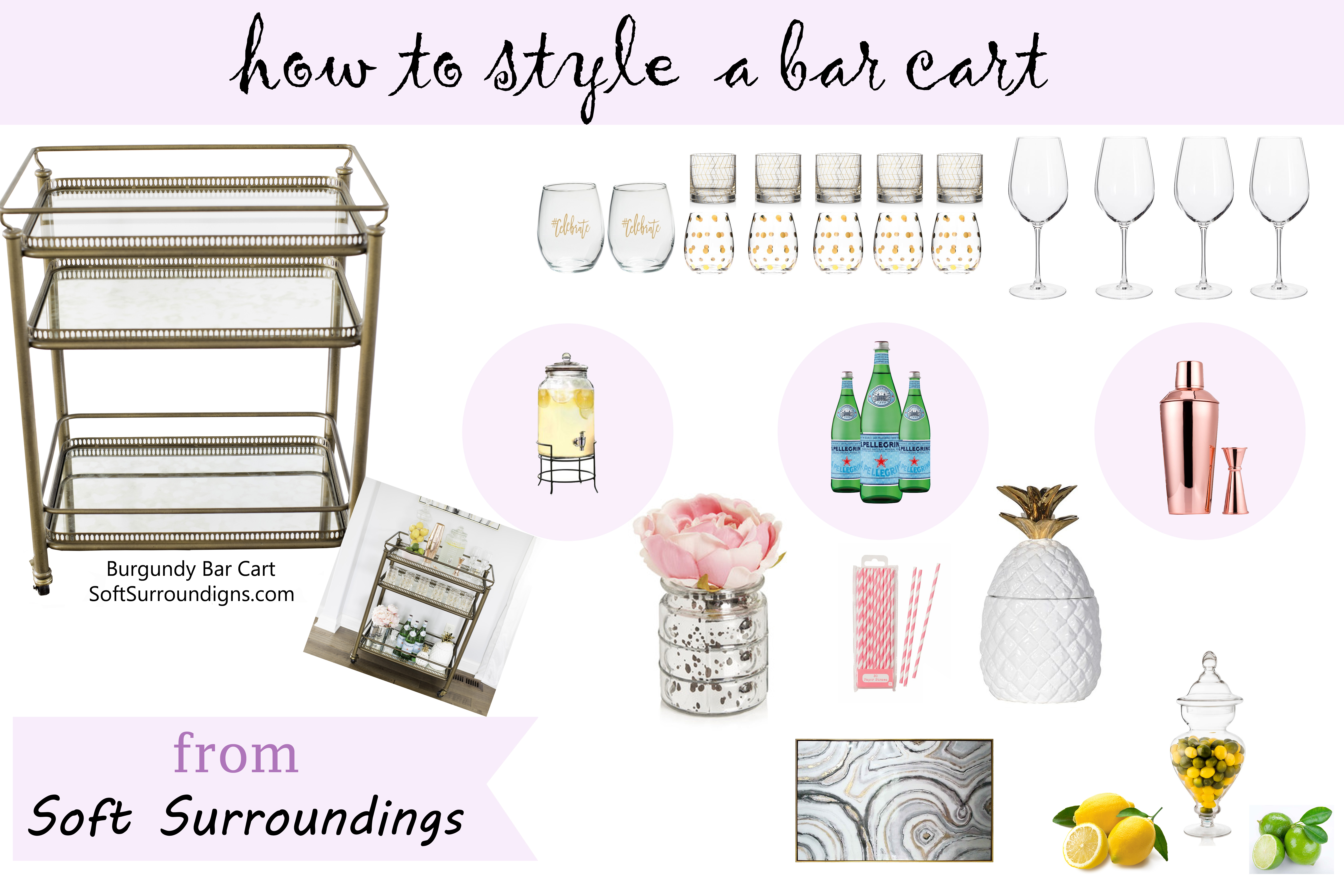 how to style a bar cart from soft surroundings,