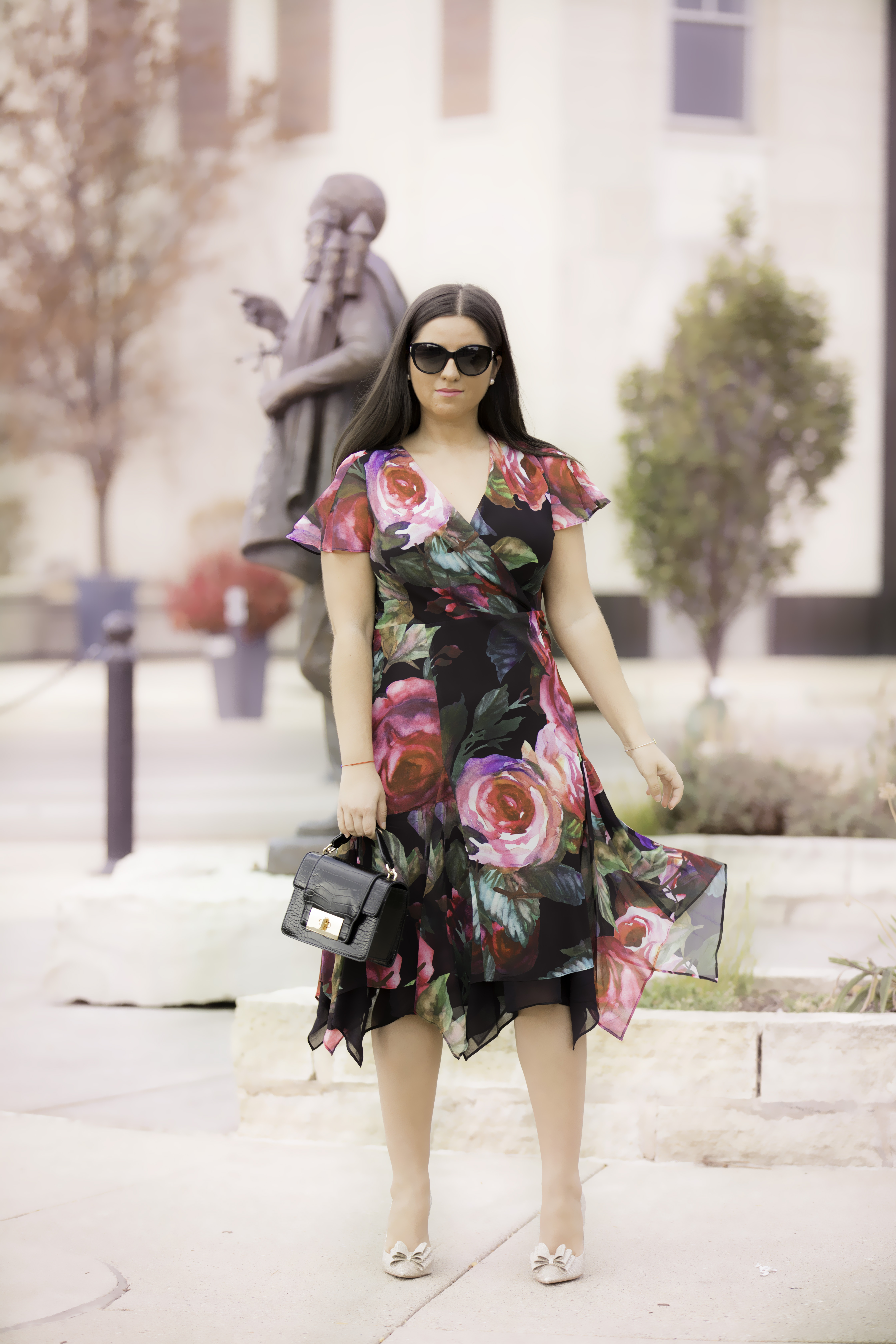 soft surroundings fall floral dress, womens floral dress, baily lamb