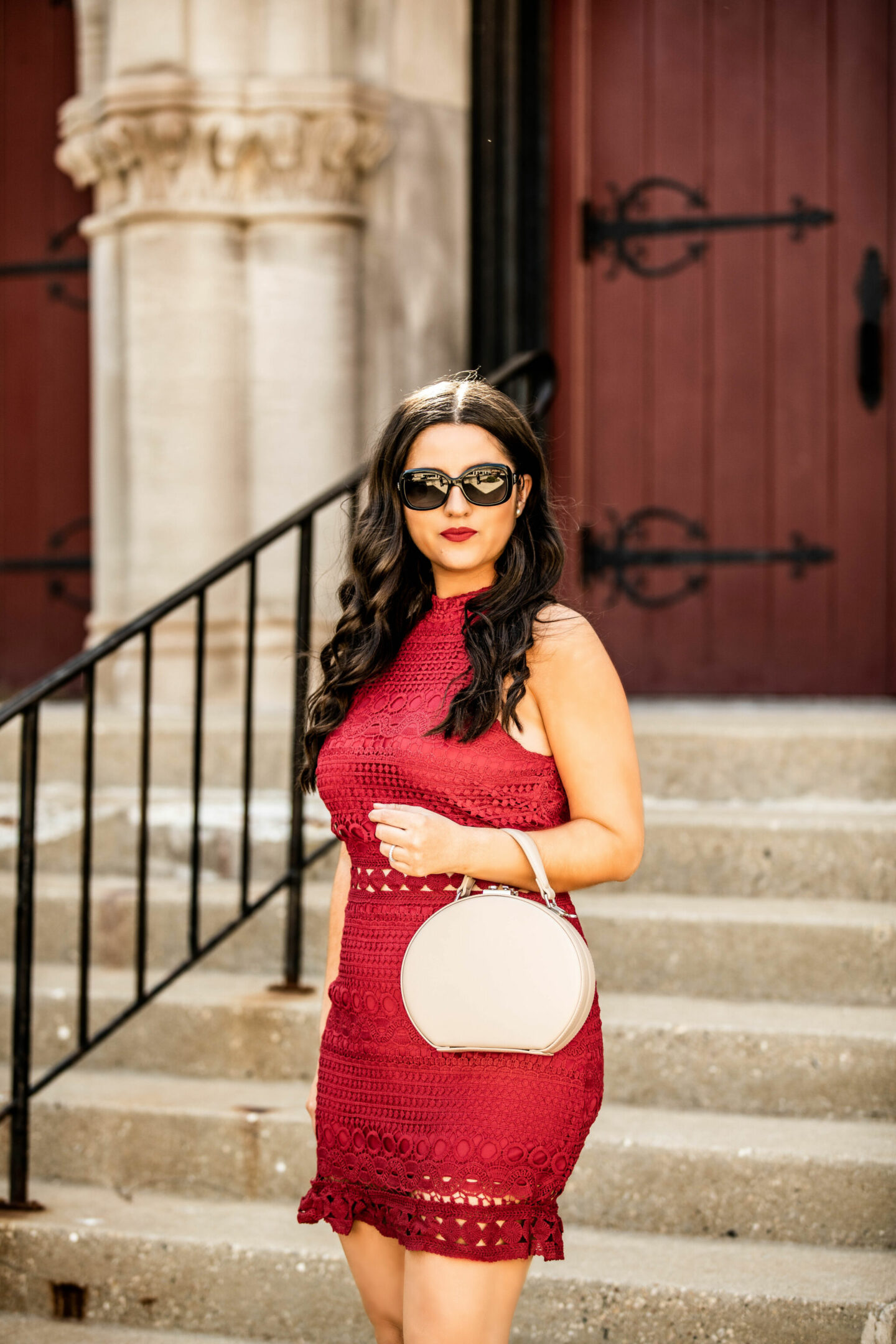 red lace dress, chicago fashion blogger, baily lamb, chicago fashion