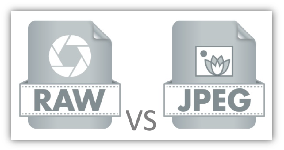 "An image of two graphical icons, one labeled ""RAW"", the other labeled ""JPEG""."