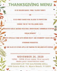 Thanksgiving Menu at Shucker's FMB