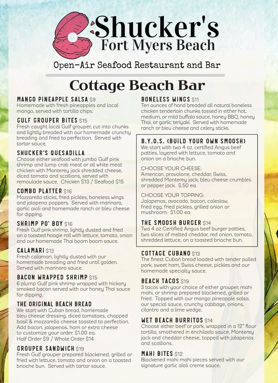 Cottage Beach Bar Menu