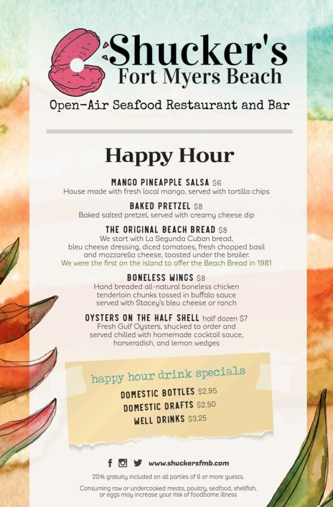 Happy Hour Menu Shucker's and The Cottage Bar