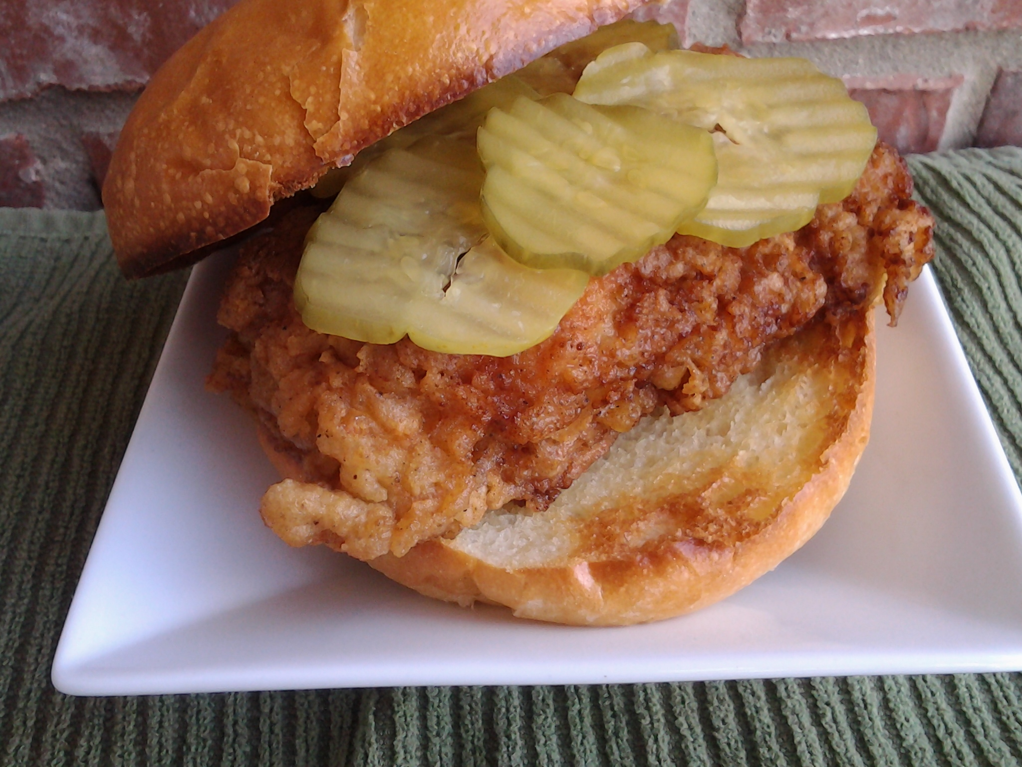Homemade fast food chicken sandwich -close up