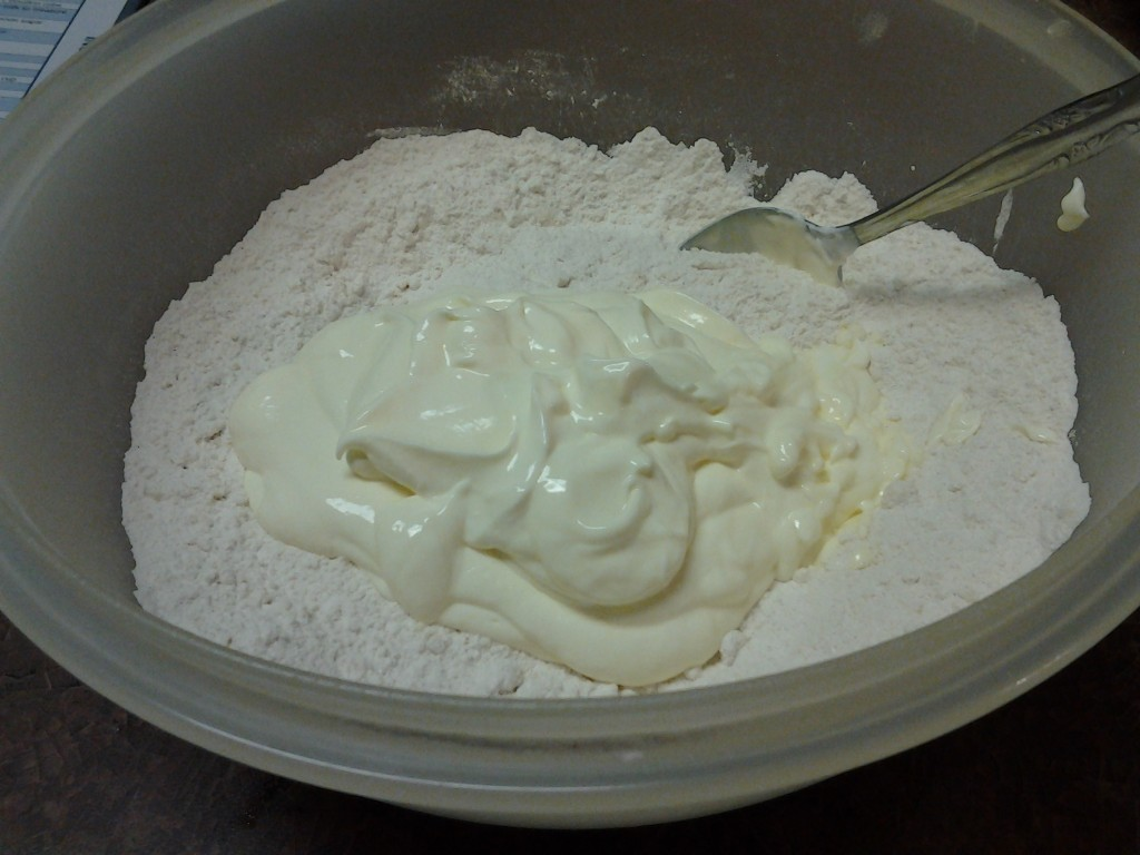 Scone -mixing wet and dry ingredients
