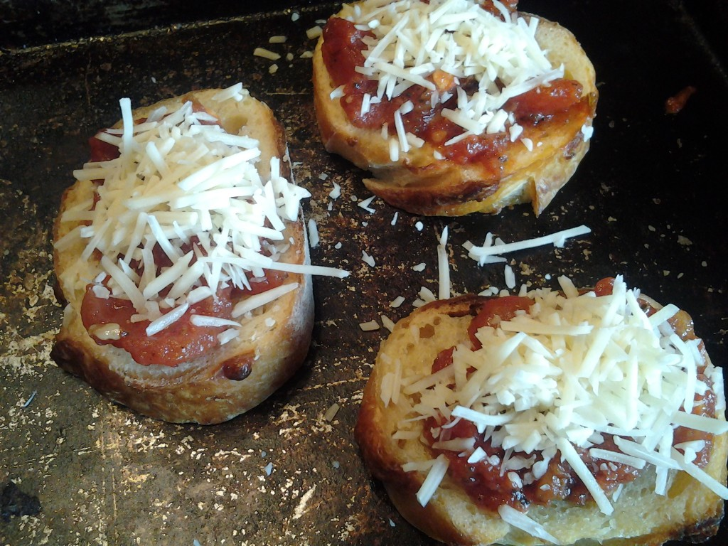 bruschetta ready for the oven
