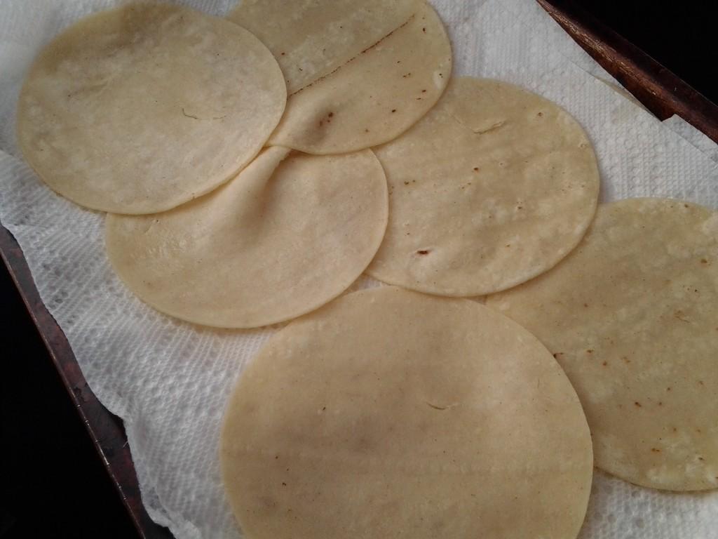 draining tortillas