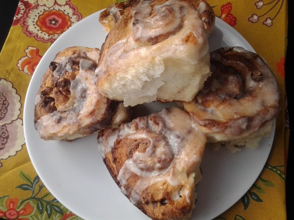 cinnamon rolls an a plate
