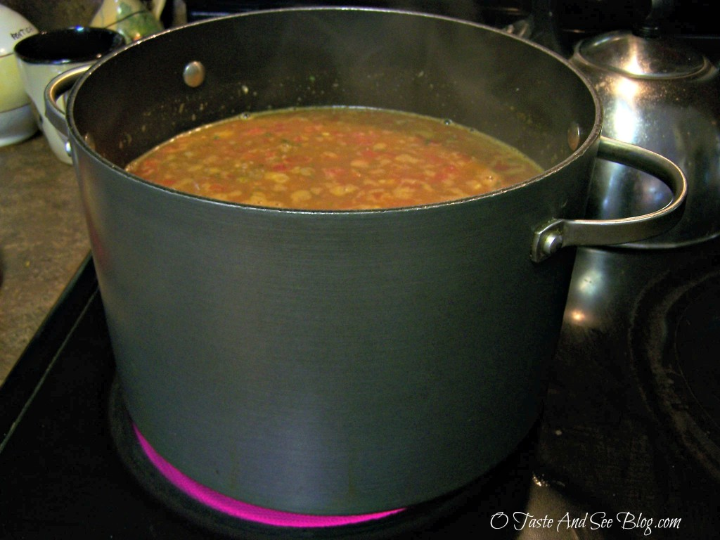 taco soup in pot