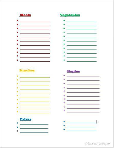 menu planning inventory list