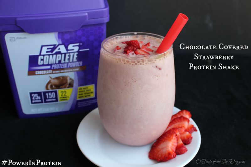 Chocolate Covered Strawberry Protein Shake #PowerInProtein #Ad