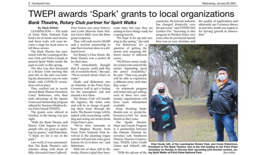 Bank Theatre Is Awarded 'Spark' Grant