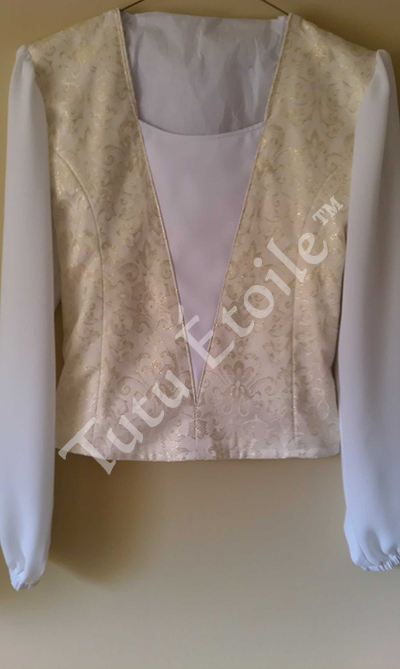 Ivory and Gold with Romantic Sleeve Style A